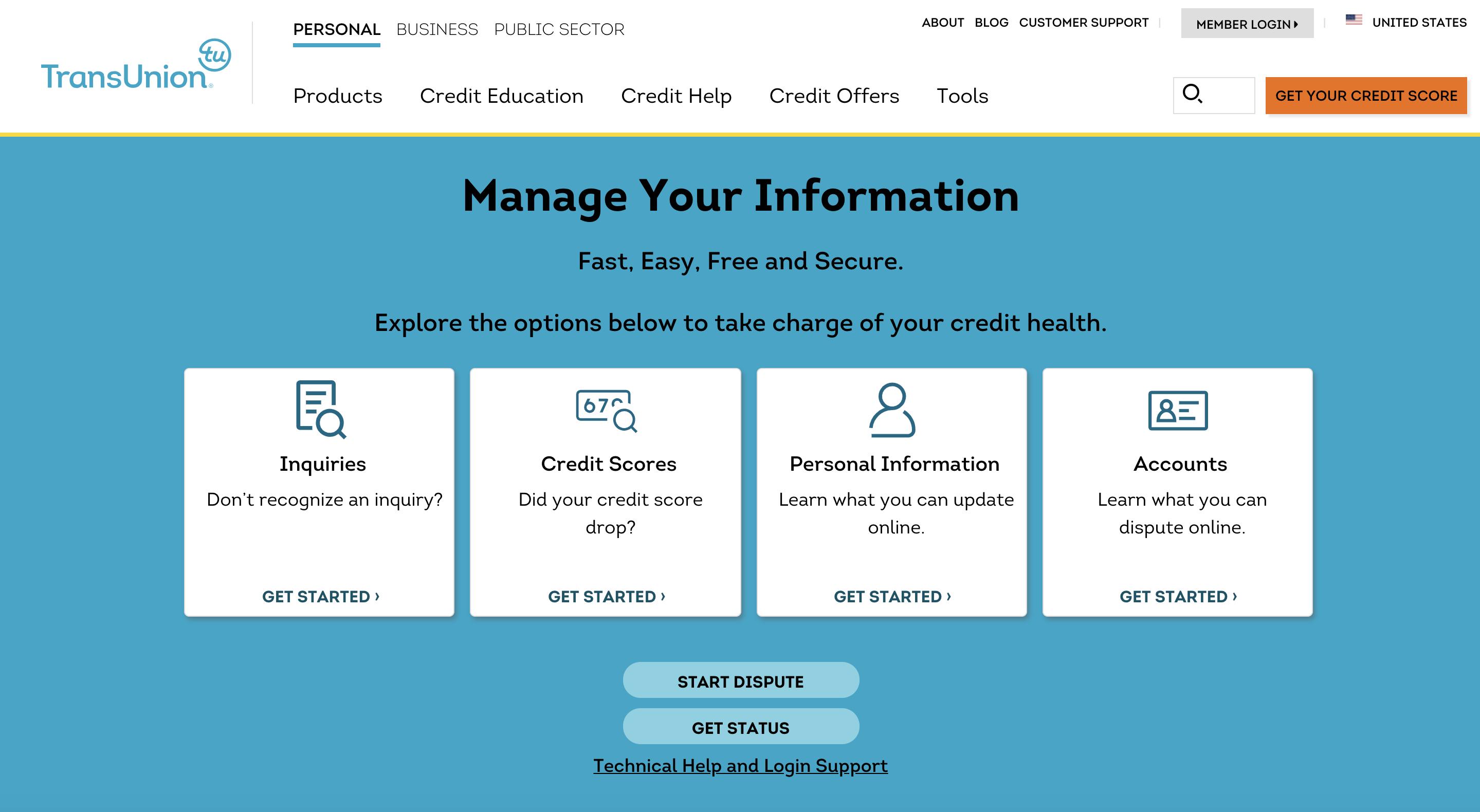 TransUnion credit report dispute center